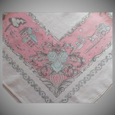 Pink Aqua Vintage Printed Kitchen Tablecloth Linen Blend 1950s 60s Print
