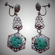 1930s Earrings Filigree Dangle Drop Faux Jade Glass Vintage TLC