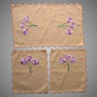 Pansies Vanity Doilies Set Vintage Yellow Cotton Purple Crocheted Lace