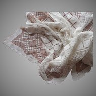 Vintage Lace Tablcloth Square Knotted Net Lace Sturdy Heavy 50 x 48