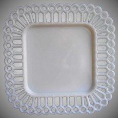 Antique Milk Glass Plate Square Stick Ball Lace Rim
