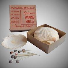 Vintage Baking Scallop Sea Shells Set 8 Original Box Party Cocktail Picks