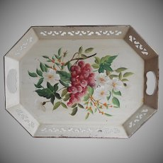 Vintage Tole Tray Hand painted Pilgrim Art Cream Flowers Grapes