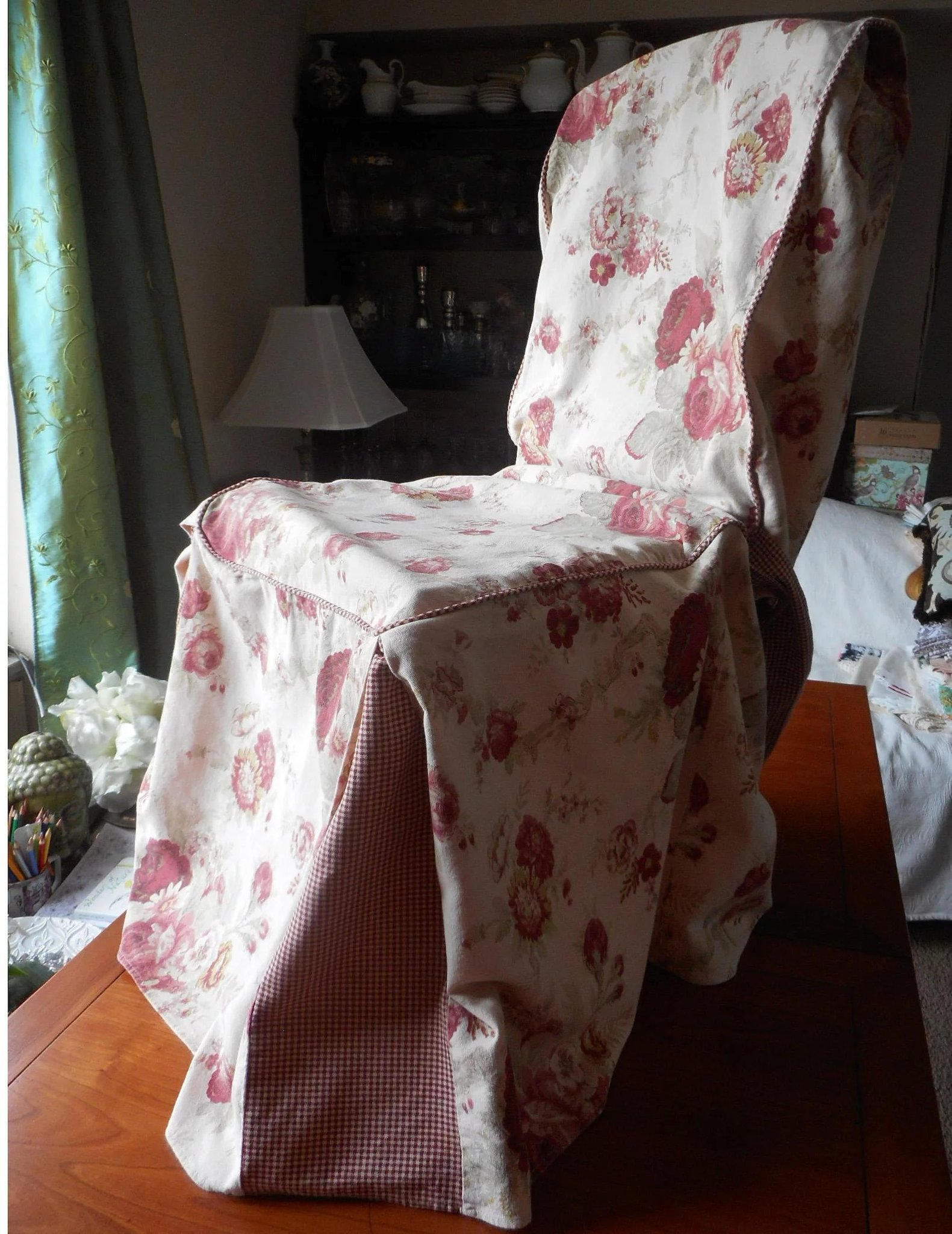 Norfolk Rose Vintage Waverly Chair Cover Slipcover Garden Room