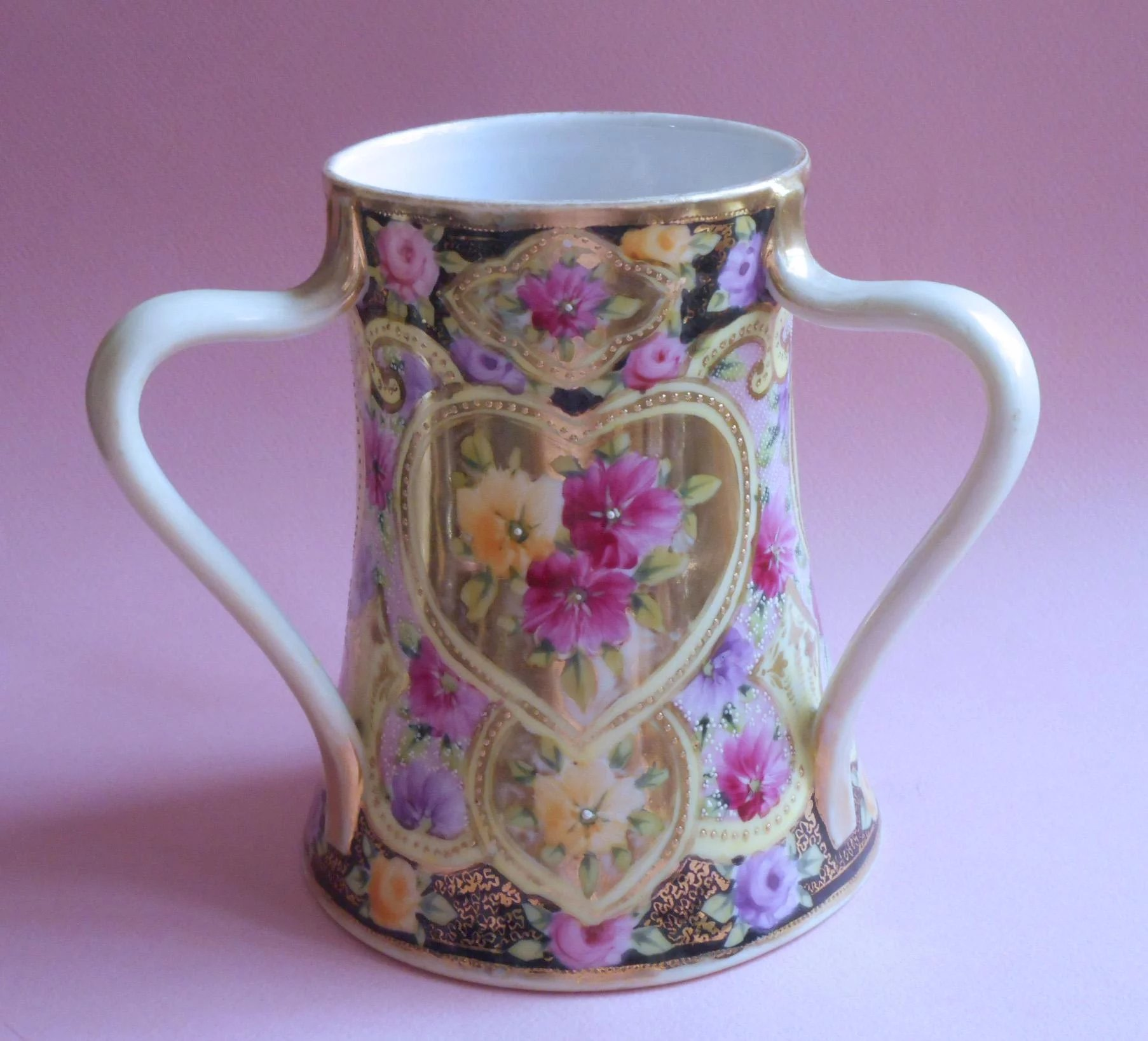 Antique Nippon Three Handled Vase Hand Painted China Heart