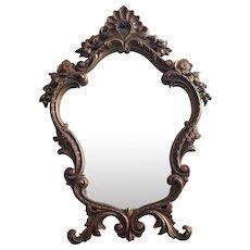 Vintage Ornate Mirror Easel Style Standing Rococo Pressed Wood Durwood - Red Tag Sale Item