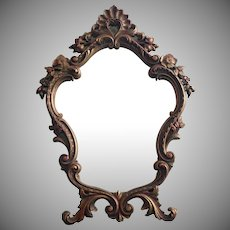 Vintage Ornate Mirror Easel Style Standing Rococo Pressed Wood Durwood