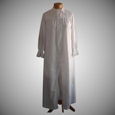 Antique Nightgown Tucks Lace Mother Of Pearl Buttons Cotton