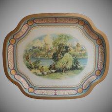 Vintage English Tin Tray Turquoise Blue Gold Baret Ware Windsor Castle