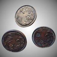 Victorian Picture Buttons Set 3 Antique Meadow Flowers Grass Large