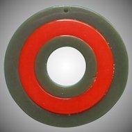 Imitation Bakelite Vintage Plastic Zipper Pull Ornament Green Orange