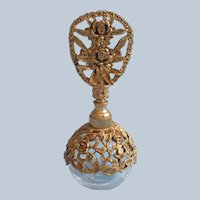 Irice Perfume Bottle Vintage Ornate Ormolu Roses Filigree Crackle Glass Dauber