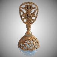 Vintage Irice Perfume Bottle Ornate Ormolu Roses Filigree Crackle Glass Dauber
