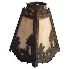 Antique Miller Slag Glass Lamp Shade 4 Panel Chinoiserie Figures