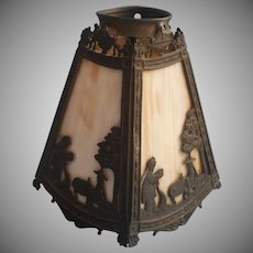 Antique Miller Slag Glass Lamp Shade 4 Panel Chinoiserie Figures