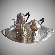 Handsome Vintage Tea Coffee Set Oneida Silver Plated Bennington Teapot Coffee Pot Tray Creamer Sugar Bowl