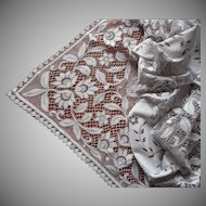 Vintage Lace Tablecloth English Ecru White 52 x 46 Inches