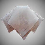 Vintage Hankie Linen All White Hand Embroidery Fine Hemstitching