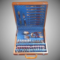Vintage Thai Bronze Rosewood Dessert Flatware Set Service In Box