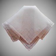 Vintage Hankie Linen Fine White Angled Hemstitching Decoration