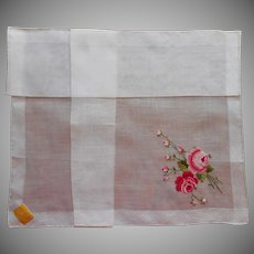 Vintage Hankie Roses Petit Point Hand Embroidery Original Label Kimball