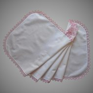 Pink Tatted Lace Runner Vintage White Cotton