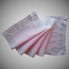 Vintage Runner Pink Cotton White Eyelet Lace