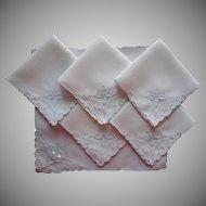 Vintage Tea Napkins Linen Ice Blue Cutwork Hand Embroidery Set 6