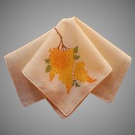 Vintage Hankie Yellow Lilacs Screen print On Yellow Cotton