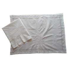 Antique Italian Wedding Shams Layover Style Hand Embroidery All White Cotton