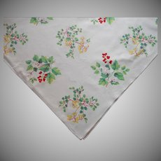 Vintage Tablecloth Print Printed Kitchen Flowering Shrubs Berries