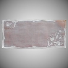 Madeira Organdy Bread Tray Doily Vintage Linen Rectangular Hand Embroidery Appliqued Unused
