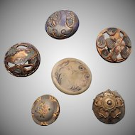 Antique Buttons Art Nouveau Small Sweet Metal Passementerie Celluloid