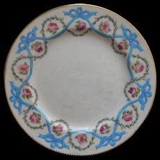 Minton Plate Turquoise Blue Ribbon Bows Pink Roses Antique China Enameled Mintons