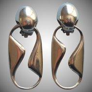 Vintage Modernist Sterling Silver Earrings Zina Dangle Clip