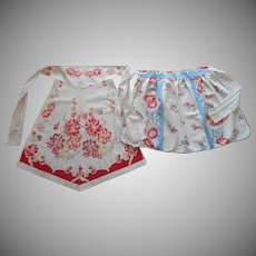1940s Aprons Vintage Apron Printed Red Blue Floral Toweling Fabric