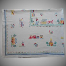 Vintage Tablelcoth Print Kitchen Petit Point Olden Days Motifs 66 x 51.5