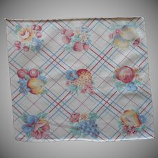 1940s Kitchen Vintage Tray Cloth Fruits Print Plaid Cotton