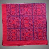 Vintage Tablecloth Red Black Print Artex Spanish Mediterranean Wrought Iron Motif