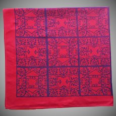 Vintage Tablecloth Red Black Print Artex Spanish Mediterranean Wrought Iron Motif