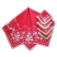 1920s Tea Tablecloth Set 4 Napkins Vintage Red Cream Hand Embroidery Novelty Lace