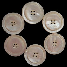 Antique Buttons 1910s Large Thick Mother Of Pearl Coat Set 6