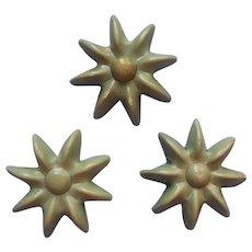 Vintage Buttons 1930s Celluloid Star Flower Shape Set 3 Blue Green Color