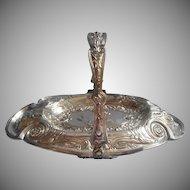 Antique Bonbon Basket Ornate Silver Plated TLC