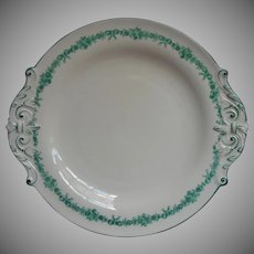 Antique Copeland China Dessert Serving Plate Teal Hand Painted Bows Flowers