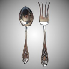 Old Colony 1911 Antique Silver Plated Small Serving Beef Fork Sugar Spoon Jam