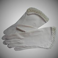 Vintage Gloves Glass Bead Braided Beads Trim White Fabric XS