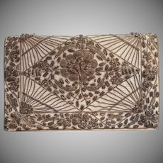 Vintage Purse Evening Clutch India Metal Embroidery Dark White Silver