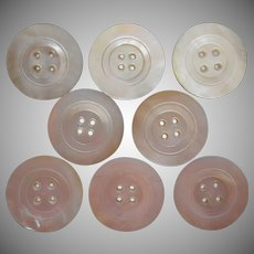 Antique Buttons Set 8 Large Mother Of Pearl