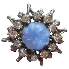 Vintage Button 1940s Blue Molded Glass Rhinestones Metal